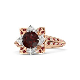 Round Red Garnet 18K Rose Gold Ring with White Sapphire and Ruby