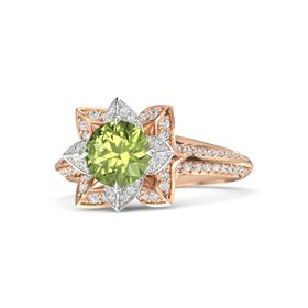 Round Peridot 18K Rose Gold Ring with White Sapphire