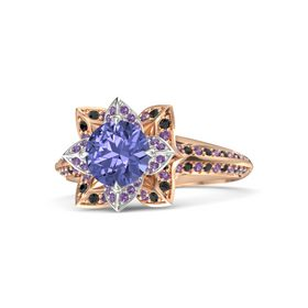 Round Tanzanite 18K Rose Gold Ring with Amethyst and Black Diamond