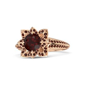 Round Red Garnet 18K Rose Gold Ring with Red Garnet