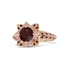 Round Red Garnet 18K Rose Gold Ring with Pink Sapphire and Red Garnet