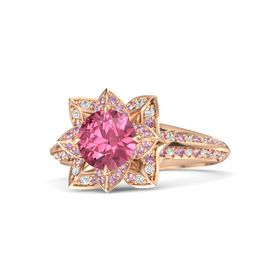 Round Pink Tourmaline 18K Rose Gold Ring with Pink Sapphire and White Sapphire
