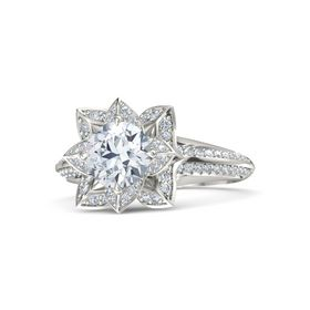 Round Diamond 18K White Gold Ring with Diamond