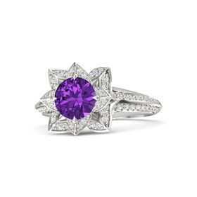 Round Amethyst 18K White Gold Ring with White Sapphire