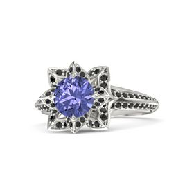 Round Tanzanite 18K White Gold Ring with Black Diamond