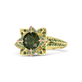 Round Green Tourmaline 18K Yellow Gold Ring with Emerald and Green Tourmaline