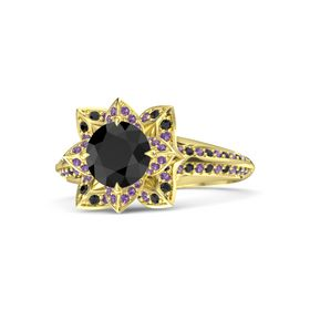 Round Black Diamond 18K Yellow Gold Ring with Amethyst and Black Diamond