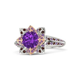 Round Amethyst Palladium Ring with Amethyst and Red Garnet