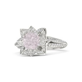 Round Rose Quartz Palladium Ring with White Sapphire