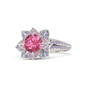 Round Pink Tourmaline Palladium Ring with Pink Tourmaline and Iolite