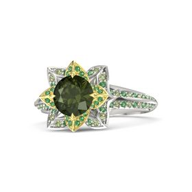 Round Green Tourmaline Palladium Ring with Emerald and Peridot