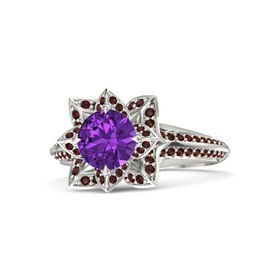 Round Amethyst Palladium Ring with Red Garnet
