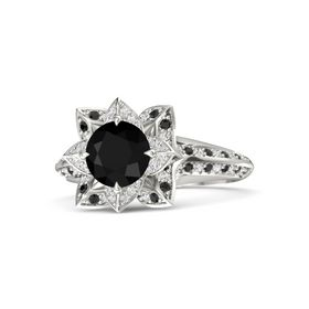 Round Black Onyx Palladium Ring with White Sapphire and Black Diamond