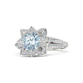 Round Aquamarine Palladium Ring with Diamond