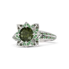 Round Green Tourmaline Palladium Ring with Emerald and Green Tourmaline