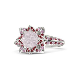 Round Rose Quartz Palladium Ring with Ruby and Pink Tourmaline