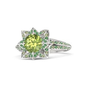 Round Peridot Palladium Ring with Emerald and Peridot