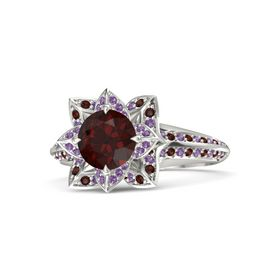 Round Red Garnet Platinum Ring with Amethyst and Red Garnet