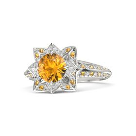 Round Citrine Platinum Ring with White Sapphire and Citrine