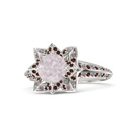 Round Rose Quartz Platinum Ring with Red Garnet and Rhodolite Garnet