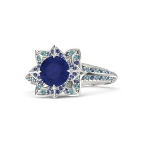 Round Blue Sapphire Platinum Ring with Blue Sapphire and London Blue Topaz