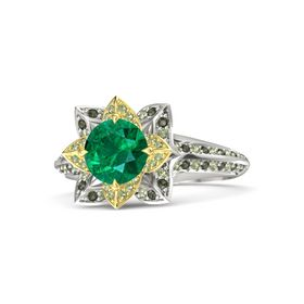 Round Emerald Platinum Ring with Peridot and Green Tourmaline