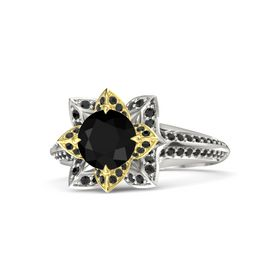 Round Black Onyx Platinum Ring with Black Diamond
