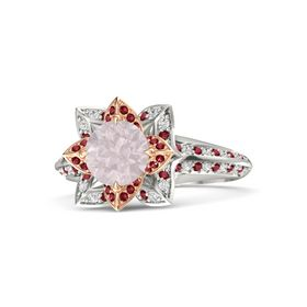 Round Rose Quartz Platinum Ring with Ruby and White Sapphire