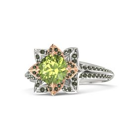 Round Peridot Platinum Ring with Green Tourmaline