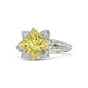 Round Yellow Sapphire Platinum Ring with Yellow Sapphire and Diamond