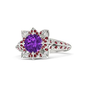 Round Amethyst Platinum Ring with Ruby and White Sapphire