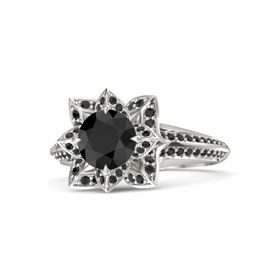 Round Black Diamond Platinum Ring with Black Diamond