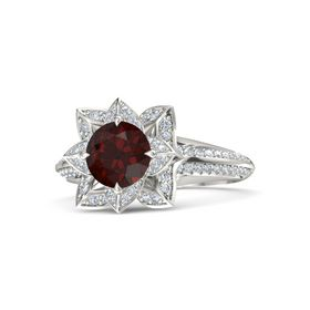 Round Red Garnet Platinum Ring with Diamond
