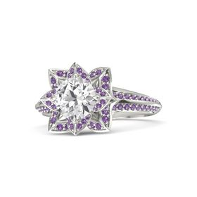 Round White Sapphire Platinum Ring with Amethyst