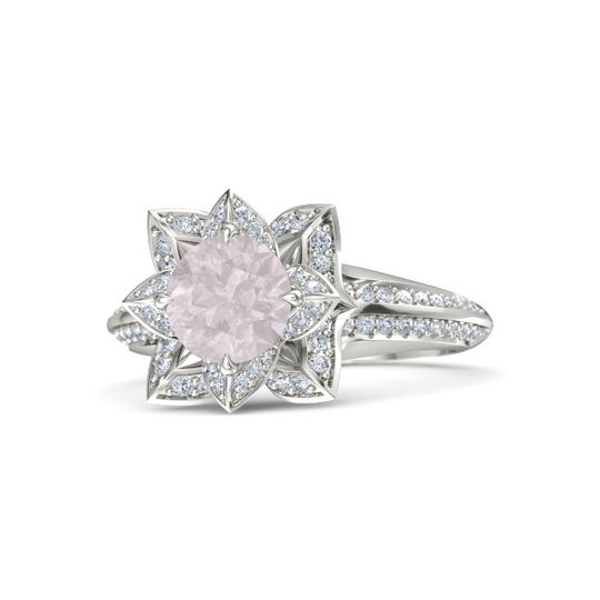 Platinum Rose Quartz Wedding Ring Sets Rings Gemvara
