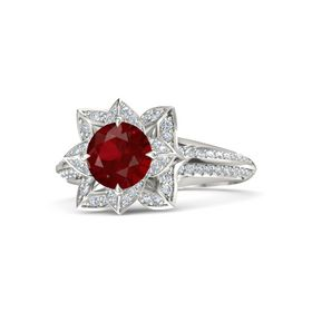 Round Ruby Platinum Ring with Diamond