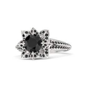 Round Black Diamond Sterling Silver Ring with Black Diamond