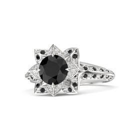 Round Black Diamond Sterling Silver Ring with White Sapphire and Black Diamond