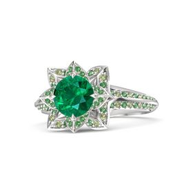 Round Emerald Sterling Silver Ring with Emerald and Peridot