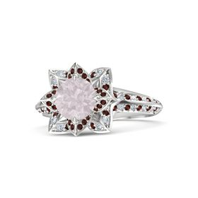 Round Rose Quartz Sterling Silver Ring with Red Garnet and Diamond