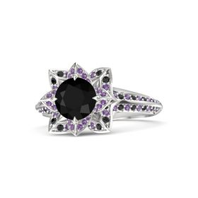 Round Black Onyx Sterling Silver Ring with Amethyst and Black Diamond