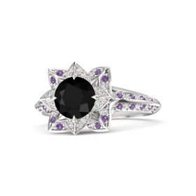 Round Black Onyx Sterling Silver Ring with White Sapphire and Amethyst