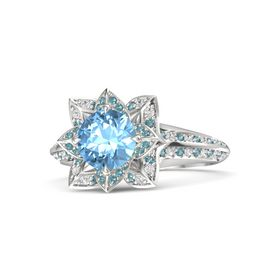 Round Blue Topaz Sterling Silver Ring with London Blue Topaz and White Sapphire