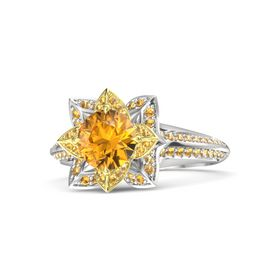 Round Citrine Sterling Silver Ring with Citrine