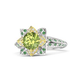 Round Peridot Sterling Silver Ring with White Sapphire and Emerald