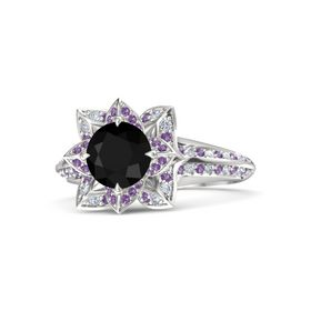Round Black Onyx Sterling Silver Ring with Amethyst and Diamond