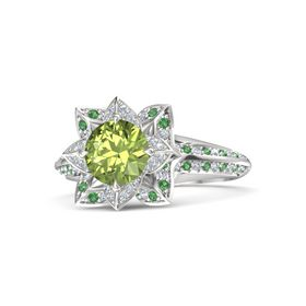 Round Peridot Sterling Silver Ring with Diamond and Emerald