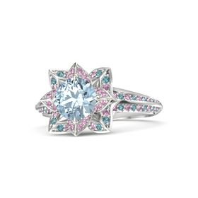 Round Aquamarine Sterling Silver Ring with Pink Sapphire and London Blue Topaz