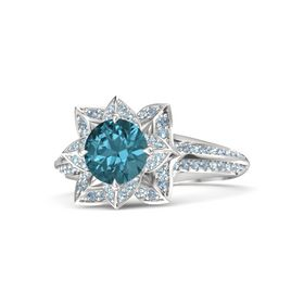 Round London Blue Topaz Sterling Silver Ring with Aquamarine and Blue Topaz