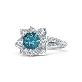 Round London Blue Topaz Sterling Silver Ring with Blue Topaz and Aquamarine